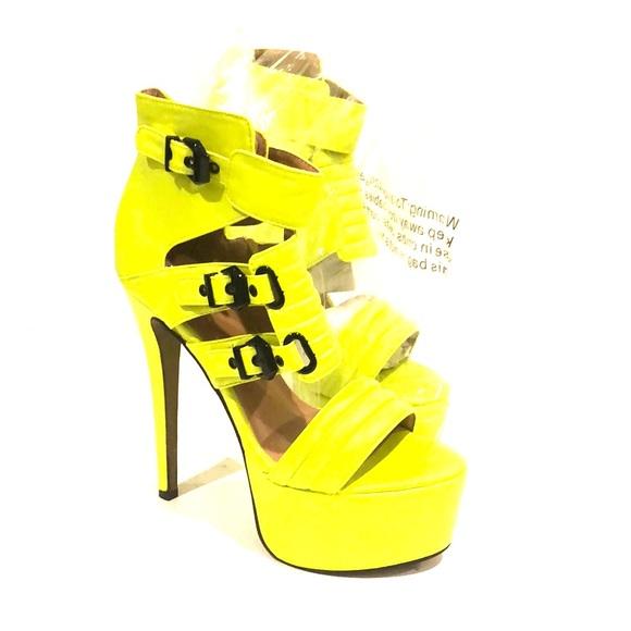 59b960575e Glaze Shoes | Neon Yellow Heels With Black Hardware | Poshmark